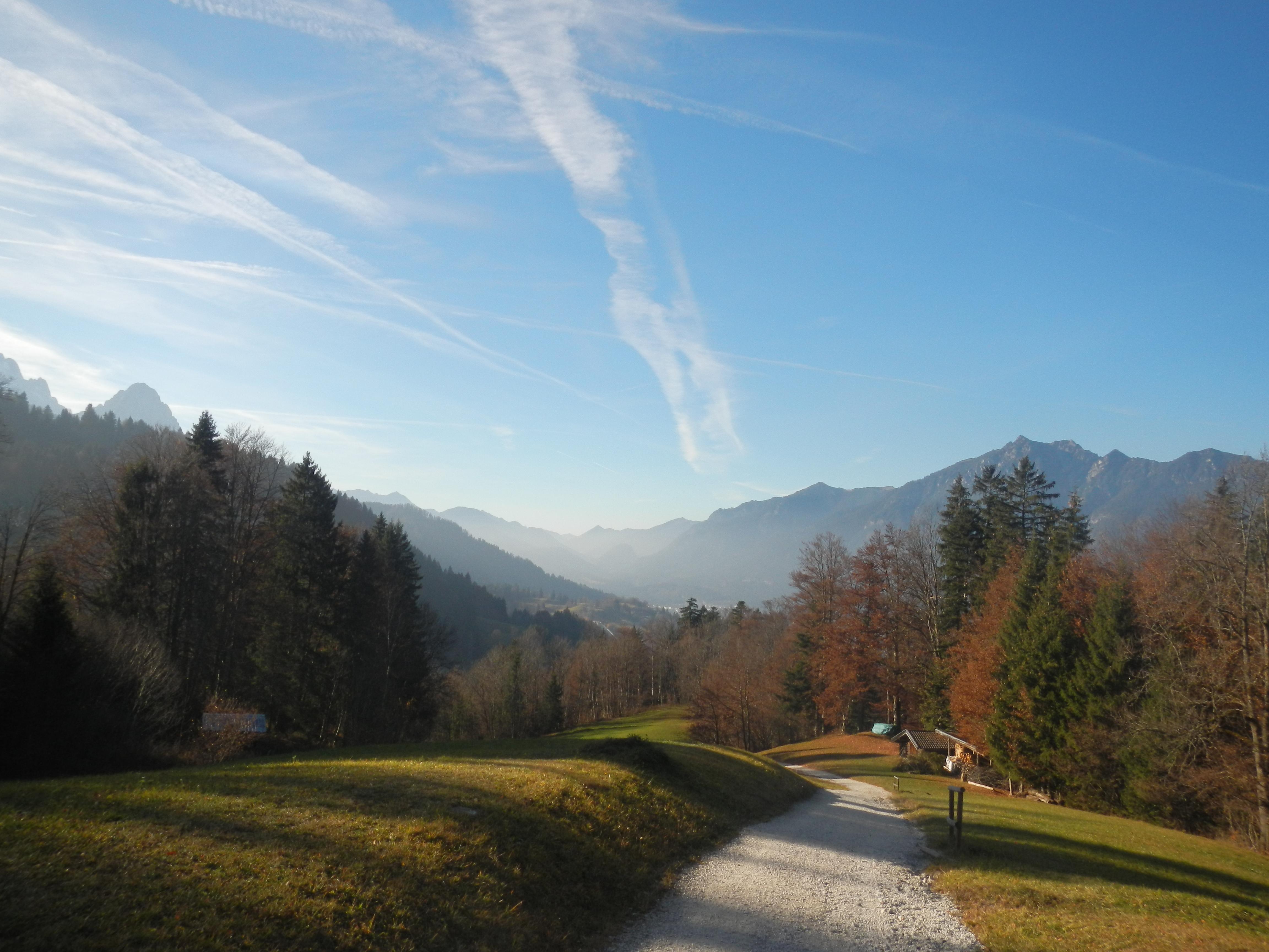 Auf einem naturbelassenen Weg geht es von Wamberg weiter bergab nach Garmisch-Partenkirchen.