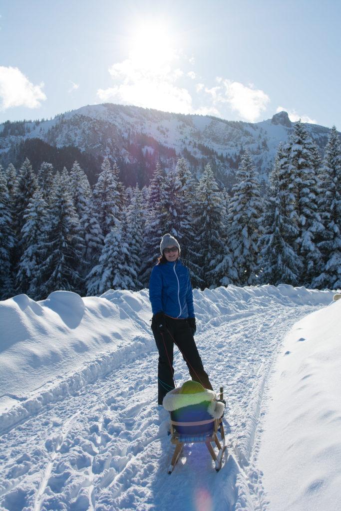 Winterwanderung mit Schlitten zur Kirchsteinhütte