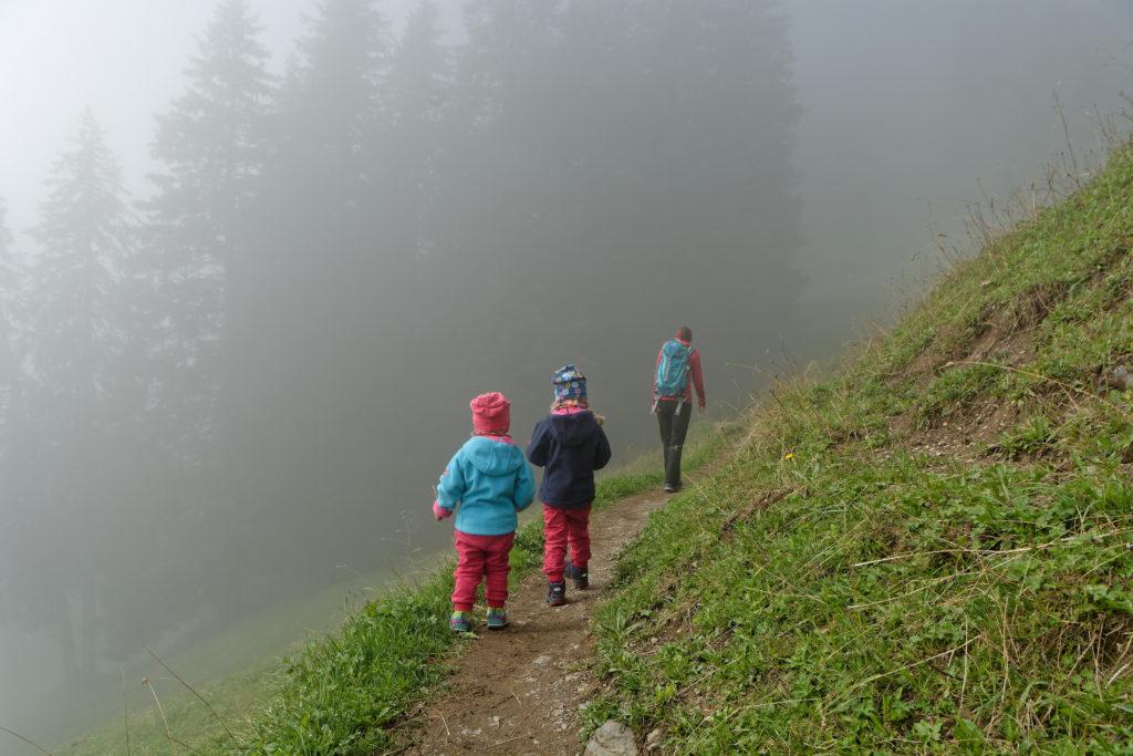 Wandern mit Kindern in der Schweiz Allmendhubel Rundwanderung im Nebel