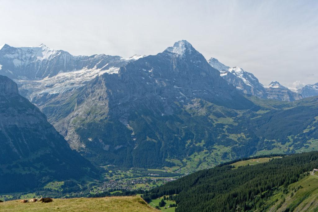 Wandern mit Kindern in der Schweiz Blick auf Grindelwald und Eiger
